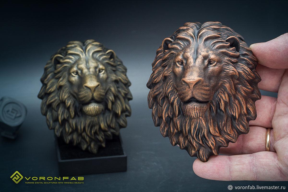 Голова льва скульптура Магнит. Бронза Медь имитация металла, Магниты, Вологда,  Фото №1