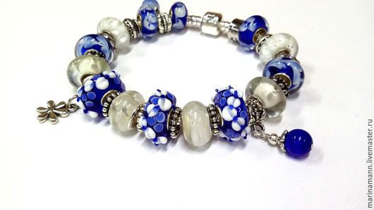 """Браслеты ручной работы. Ярмарка Мастеров - ручная работа. Купить """"Эдельвейсы"""", бело-сине-голубой браслет. Handmade. Посеребренный браслет"""