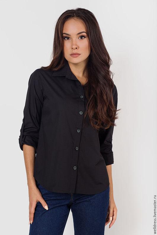 Блузки ручной работы. Ярмарка Мастеров - ручная работа. Купить Рубашка из хлопка,черная. Handmade. Черный, рубашка женская