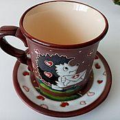 handmade. Livemaster - original item Handmade ceramic tea pair: postman hedgehog. Handmade.