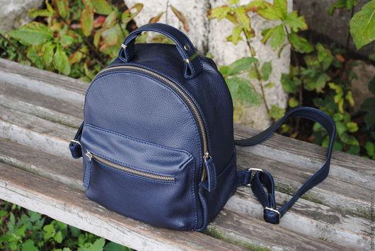 Рюкзаки ручной работы. Ярмарка Мастеров - ручная работа. Купить C034(синий). Handmade. Тёмно-синий, рюкзак городской