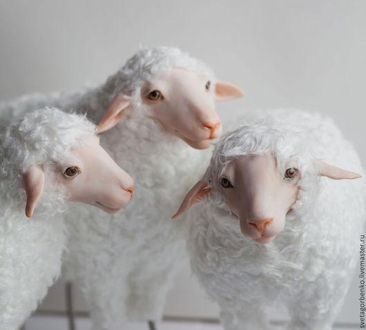 Игрушки животные, ручной работы. Ярмарка Мастеров - ручная работа. Купить Овечка. Handmade. Белый, полимерная глина, дерево