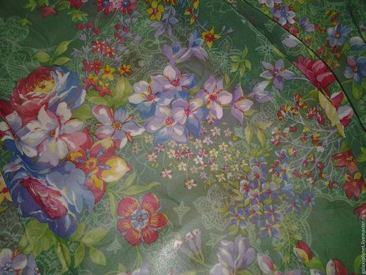 """Шитье ручной работы. Ярмарка Мастеров - ручная работа. Купить Шифон матовый полупрозрачный зеленый """"Магия цветов"""". Handmade. Комбинированный"""
