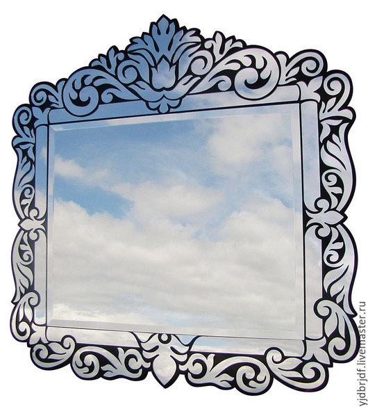 Зеркала ручной работы. Ярмарка Мастеров - ручная работа. Купить Зеркало по мотивам венецианских (1). Handmade. Черный, фанера