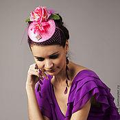 """Аксессуары ручной работы. Ярмарка Мастеров - ручная работа Шляпка вуалетка, украшение для волос """"Розовый сад"""". Handmade."""