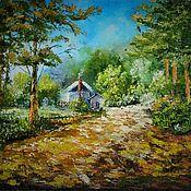 """Картины и панно ручной работы. Ярмарка Мастеров - ручная работа Картина.масло"""".Домик в лесу""""красочный пейзаж,природа. Handmade."""