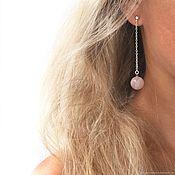 Украшения handmade. Livemaster - original item Earrings on chain rose quartz and silver long earrings. Handmade.