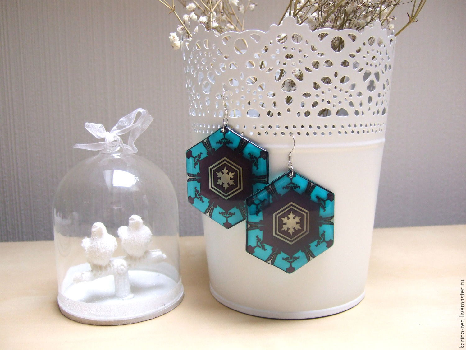 buy bright original winter snow earrings for maiden of jewelry transparent epoxy blue with black snowflake pattern geometry jewelry handmade for new year holiday