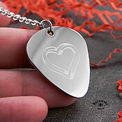 Украшения handmade. Livemaster - original item Pick with heart engraving (stainless steel). Handmade.