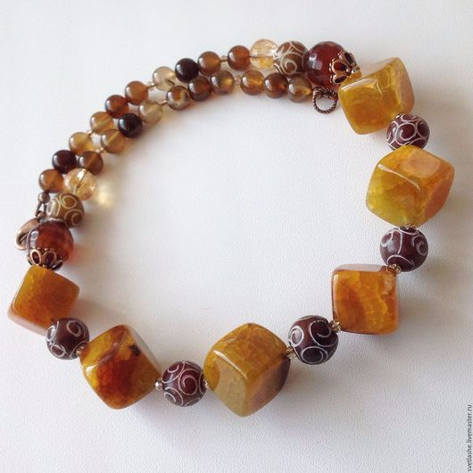 Колье бусы из Агата нефрита купить в подарок девушке женщине любимой подруге маме теще свекрови украшение на шею из натуральных камней