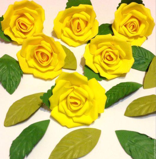 Материалы для флористики ручной работы. Ярмарка Мастеров - ручная работа. Купить Розы желтые, 10 штук в наборе, ручная работа. Handmade.