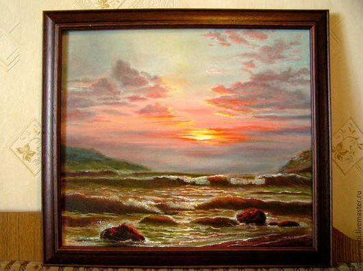 """Пейзаж ручной работы. Ярмарка Мастеров - ручная работа. Купить """"Закат"""". Handmade. Комбинированный, картина для интерьера, картина маслом, картина"""
