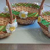 Подарки к праздникам ручной работы. Ярмарка Мастеров - ручная работа Комплект круглых пасхальных корзинок. Handmade.