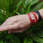 Украшения handmade. Livemaster - original item Leather bracelets set in avant-garde style Red and black. Handmade.