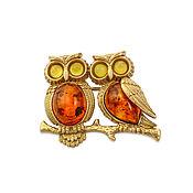 Украшения handmade. Livemaster - original item Silver brooch, with amber, the color of cognac