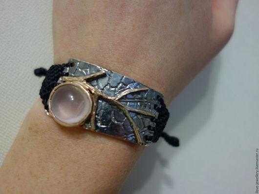 """Браслеты ручной работы. Ярмарка Мастеров - ручная работа. Купить """"Uberto""""-модный серебряный браслет с розовым кварцем. Handmade."""