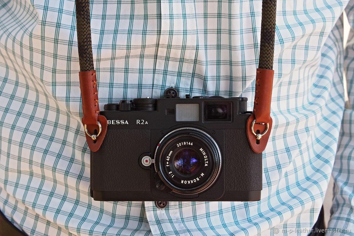 Ремень для фотоаппарата. Альпинистская веревка, натуральная кожа, Ремни, Санкт-Петербург,  Фото №1