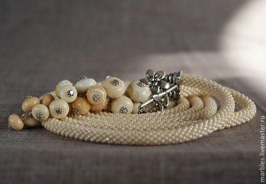 """Лариаты ручной работы. Ярмарка Мастеров - ручная работа. Купить Лариат """"Ваниль"""". Handmade. Бежевый, слоновая кость, японский бисер"""