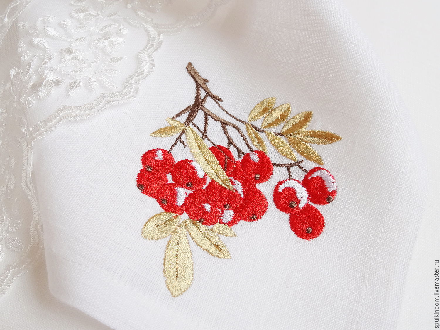 napkin with embroidery `rowan branch` `sulkin house` embroidery workshop