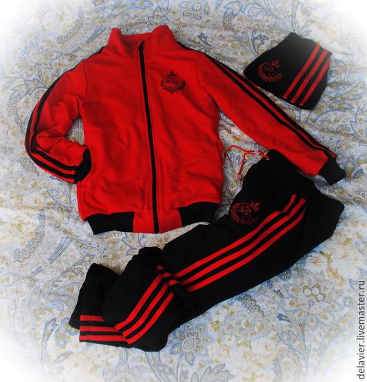 """Одежда для мальчиков, ручной работы. Ярмарка Мастеров - ручная работа. Купить Костюм спортивный """"Классическая трехполоска-2"""" с монограммой. Handmade."""
