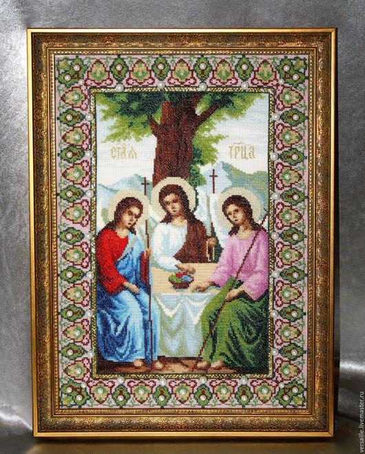 вышитая икона, вышивка крестиком, икона вышитая. икона, икона Святая Троица, икона в подарок, икона к празднику, вышивка на заказ, икона на заказ