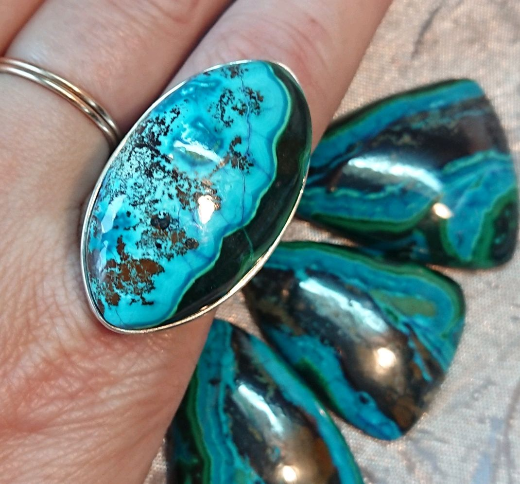 Кольцо с Хризоколлой в серебре, Кольца, Химки,  Фото №1