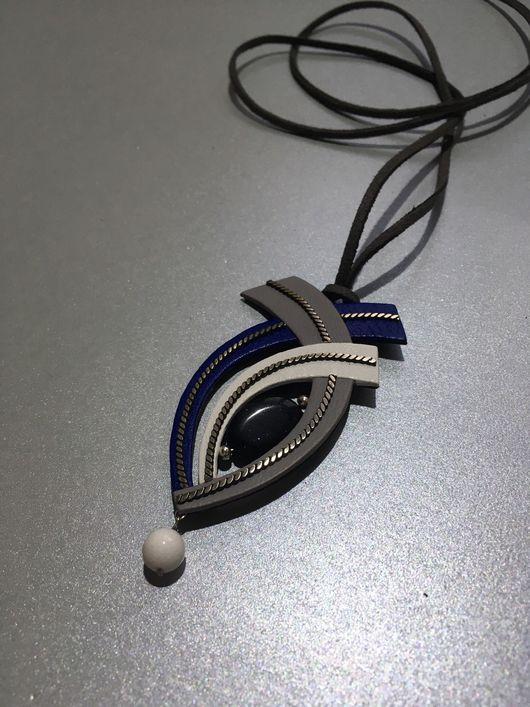Кулоны, подвески ручной работы. Ярмарка Мастеров - ручная работа. Купить украшение из кожи с синим авантюрином Бутон. Handmade.