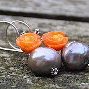 Украшения handmade. Livemaster - original item Bright earrings with orange coral and a Baroque pearl gifts of the sea. Handmade.