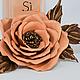 Броши ручной работы. Ярмарка Мастеров - ручная работа. Купить Брошь из натуральной кожи Роза чайная. Handmade. брошь роза
