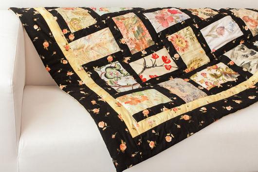 """Текстиль, ковры ручной работы. Ярмарка Мастеров - ручная работа. Купить Лоскутное покрывало в стиле пэчворк """"Японские мотивы"""". Handmade."""