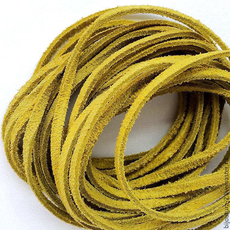 ручной работы. Ярмарка Мастеров - ручная работа. Купить Шнур 3 мм, (арт.нз8) натуральная замша, цвет горчичный желтый. Handmade.