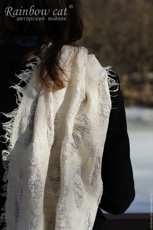 Scarves handmade. Livemaster - handmade. Buy Scarf White gold.Felt, sapelnikova tatiana, a lacy scarf, stole silk