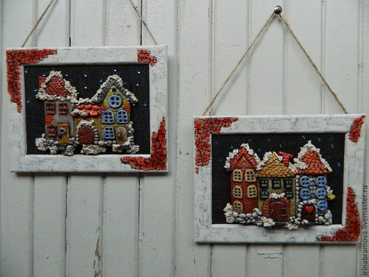 """Город ручной работы. Ярмарка Мастеров - ручная работа. Купить Панно из соленого теста """"Ночь перед Рождеством"""". Handmade. Комбинированный"""