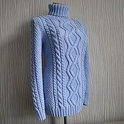 Одежда ручной работы. Ярмарка Мастеров - ручная работа Свитер`Небесно-голубой``(в наличии 44-46р-р). Handmade.