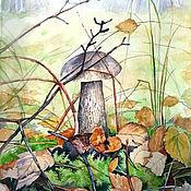 """Картины и панно ручной работы. Ярмарка Мастеров - ручная работа Акварель """"Гриб в лесу"""". Handmade."""
