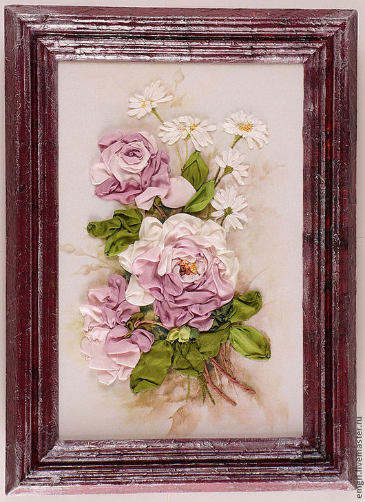 Картины цветов ручной работы. Ярмарка Мастеров - ручная работа. Купить Картина вышитая лентами Романтика (скидка 20%). Handmade.