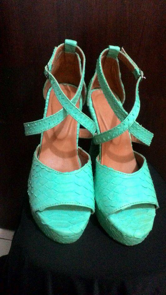 Обувь ручной работы. Ярмарка Мастеров - ручная работа. Купить Босоножки из питона. Handmade. Босоножки, Босоножки на танкетке, кожа питона