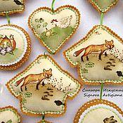 Куклы и игрушки handmade. Livemaster - original item Spring textile pendants from felt and fabric Fox Bunny. Handmade.