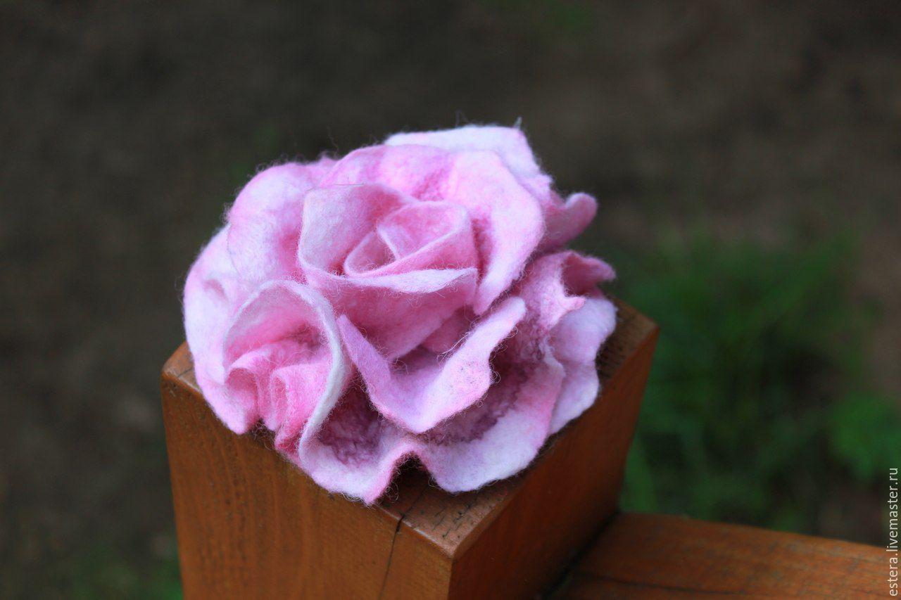"""Броши ручной работы. Ярмарка Мастеров - ручная работа. Купить """"Роза"""" - цветок-брошь. Handmade. Мокрое валяние, подарок женщине"""