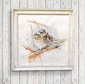 Картины и панно ручной работы. Ярмарка Мастеров - ручная работа картина акварелью Птаха в ветвях в состаренной раме (белый, рыжий). Handmade.