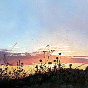 """Картины и панно ручной работы. Ярмарка Мастеров - ручная работа Пейзаж  """"Закат в поле"""". Handmade."""