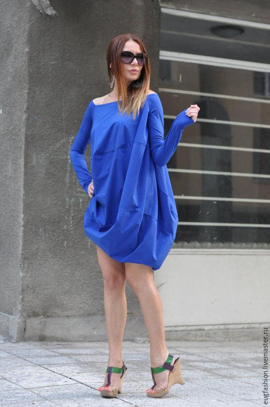 Синяя блузка. Блузка ручной работы. Модная одежда.