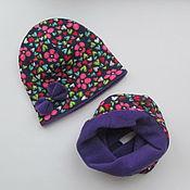 Работы для детей, ручной работы. Ярмарка Мастеров - ручная работа Двухсторонняя шапка и снуд. Handmade.