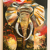 Картины ручной работы. Ярмарка Мастеров - ручная работа Счастливый слон (по мотивам). Handmade.