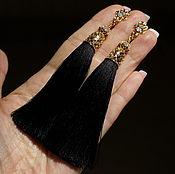 """Украшения ручной работы. Ярмарка Мастеров - ручная работа """"Черное золото"""" серьги-кисти. Handmade."""
