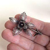 Винтаж ручной работы. Ярмарка Мастеров - ручная работа Старинная брошь Орхидея филигрань серебро. Handmade.