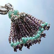 Украшения handmade. Livemaster - original item Lavender - earrings brush made of natural gemstones amethyst amazonite. Handmade.