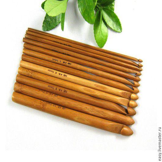 Вязание ручной работы. Ярмарка Мастеров - ручная работа. Купить Крючок бамбуковый обугленный. Handmade. Коричневый, бамбуковый крючок, большой крючок
