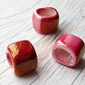 Материалы для творчества ручной работы. Ярмарка Мастеров - ручная работа Керамическая бусина для regaliz (регализ) 14мм малиновая. Handmade.