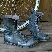 Обувь ручной работы. Ярмарка Мастеров - ручная работа Кожаные высокие ботинки ГРАФИТ. Handmade.
